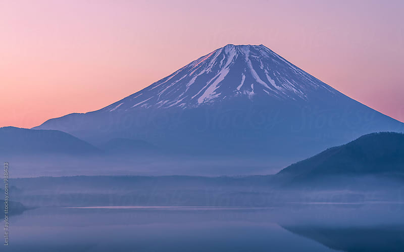Morning Motosuko and Mt Fuji by Leslie Taylor for Stocksy United