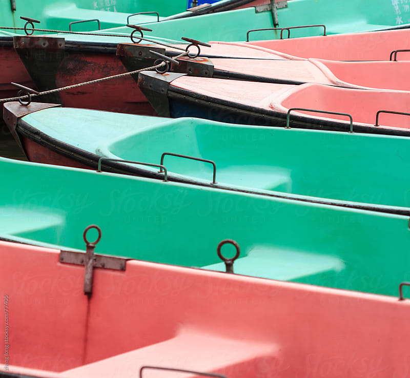 small boat on the lake by zheng long for Stocksy United