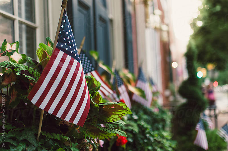 American flags outside homes on a street by Deirdre Malfatto for Stocksy United