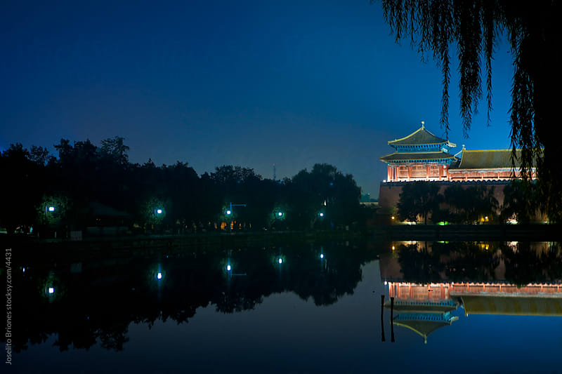 Temple in Beijing, China at Night by Joselito Briones for Stocksy United