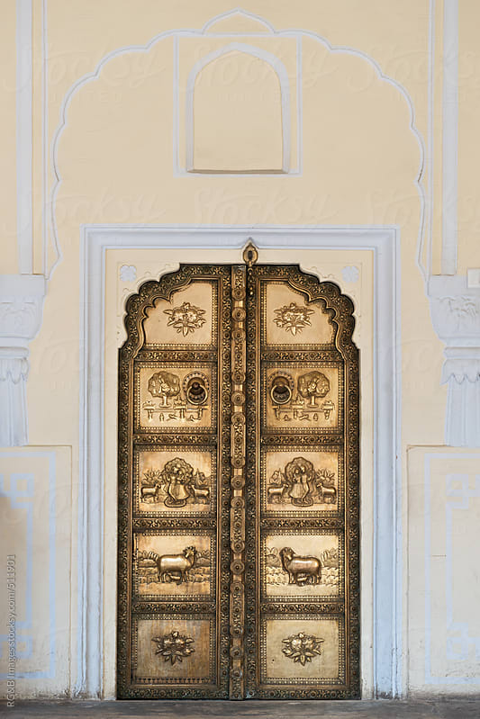 Door at the City Palace in Jaipur, India  by RG&B Images for Stocksy United