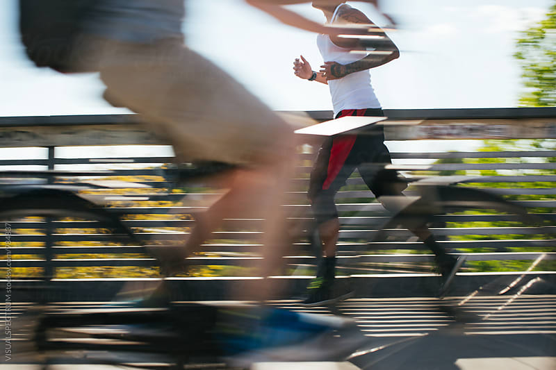 Sports - Blurred Shot of Young Male Jogger by Julien L. Balmer for Stocksy United