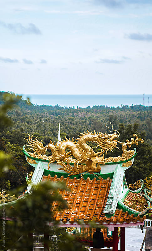 Temple shrine with ornament of chinese dragon with jungle in background. by Marko Milanovic for Stocksy United