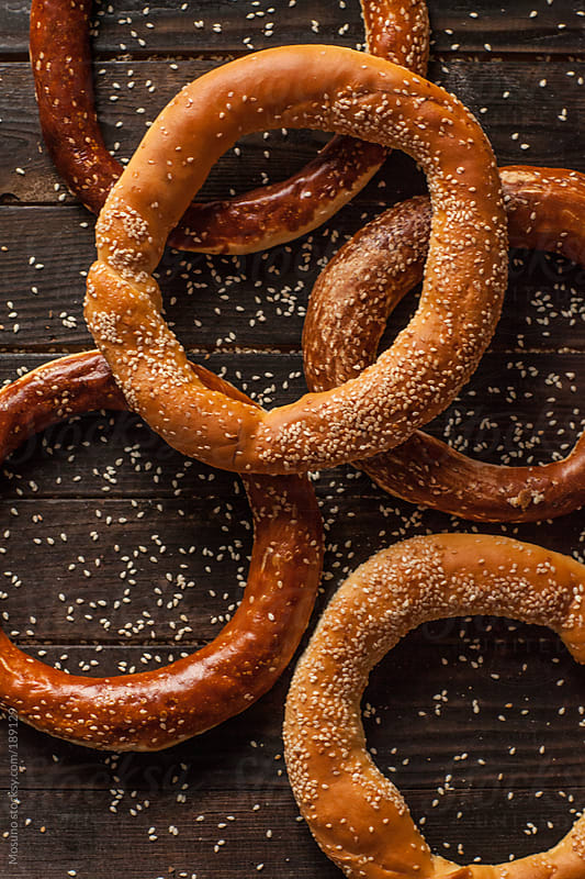 Pretzels on a Wooden Background by Mosuno for Stocksy United