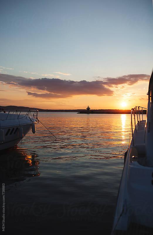 yachts on sunset in sozopol by MEM Studio for Stocksy United