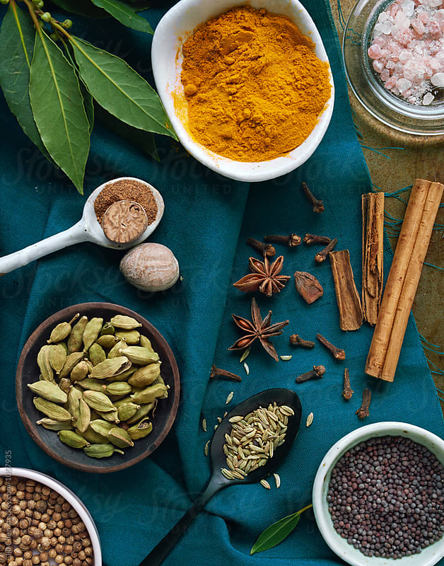 Colourful food background with spices by Jill Chen for Stocksy United