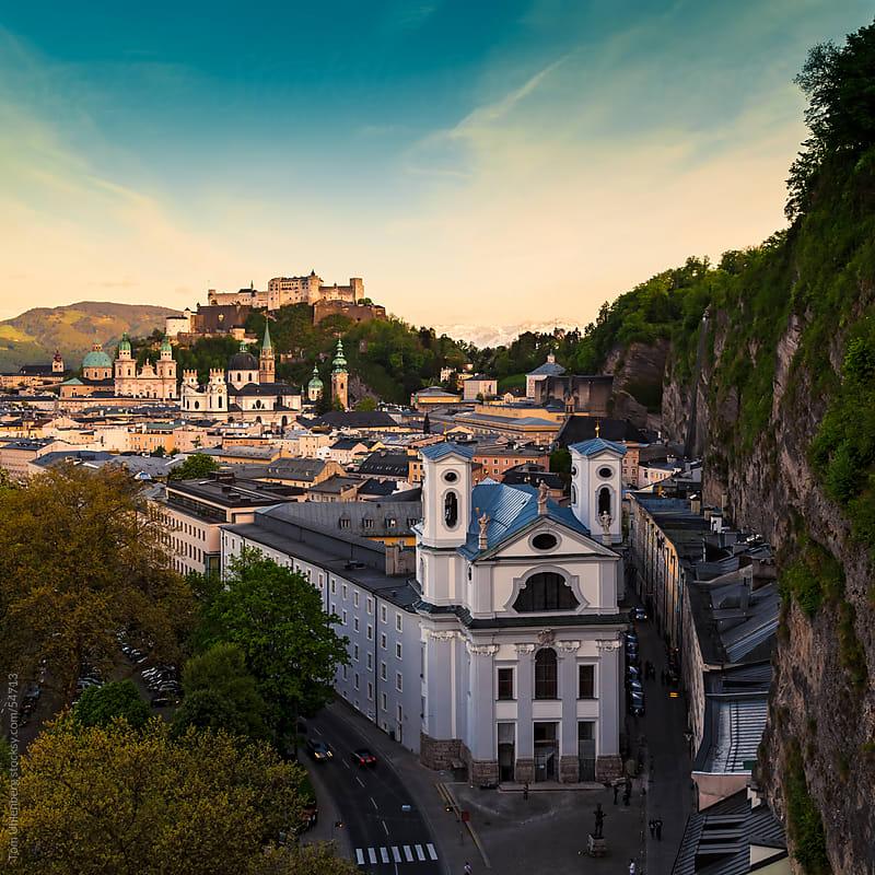 The Austrian City Salzburg at Dusk by Tom Uhlenberg for Stocksy United