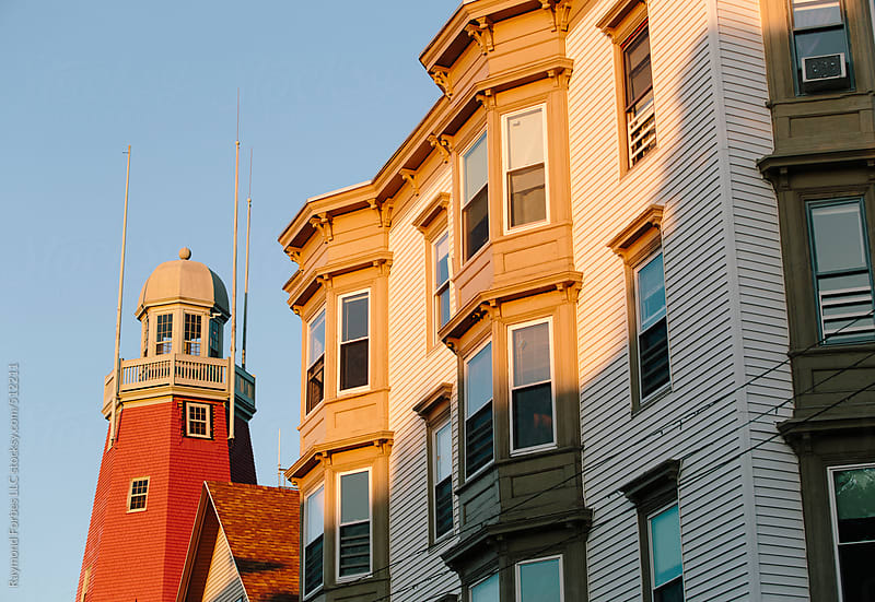 Lighthouse in Neighborhood in Portland, Maine by Raymond Forbes LLC for Stocksy United