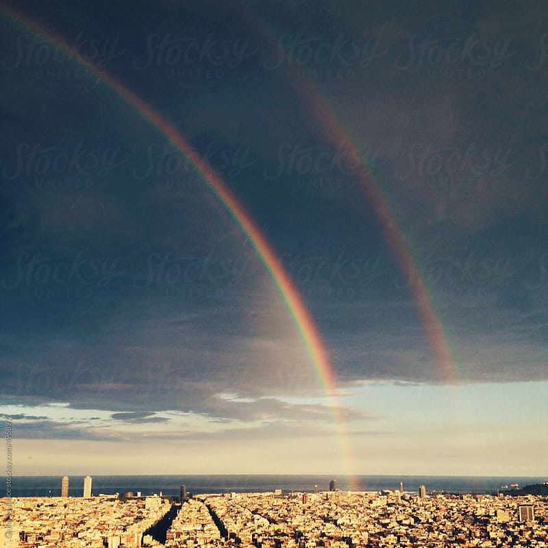 Double rainbow over Barcelona by Giulia Squillace for Stocksy United