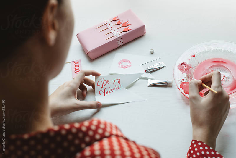 Woman Painting Valentine's Day Card With Watercolors by Nemanja Glumac for Stocksy United