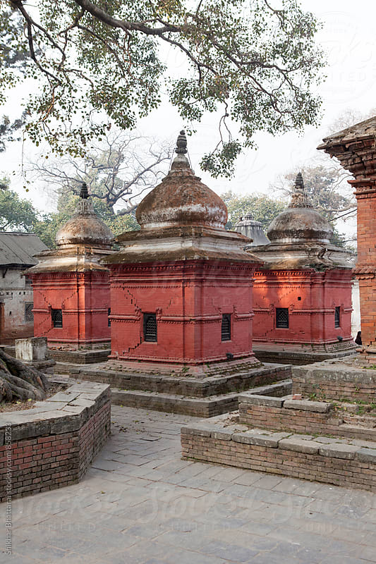 Ancient temples inside the Pashupatinath Temple premises. by Shikhar Bhattarai for Stocksy United