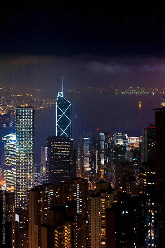 Hong Kong Night Skyline by Mental Art + Design for Stocksy United