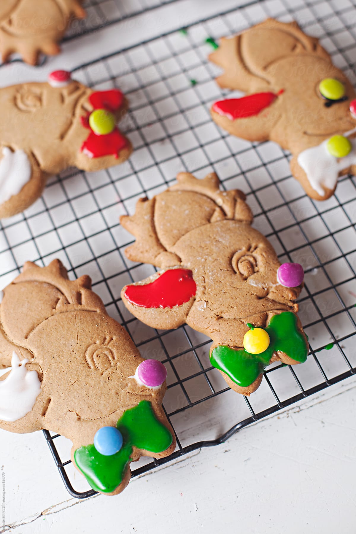 Close Up Of Reindeer Gingerbread Biscuits For Christmas By Natalie