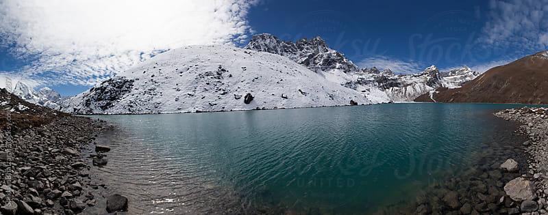 Panoramic view of Gokyo Lake, 4800m, Everest Region, Nepal. by Shikhar Bhattarai for Stocksy United