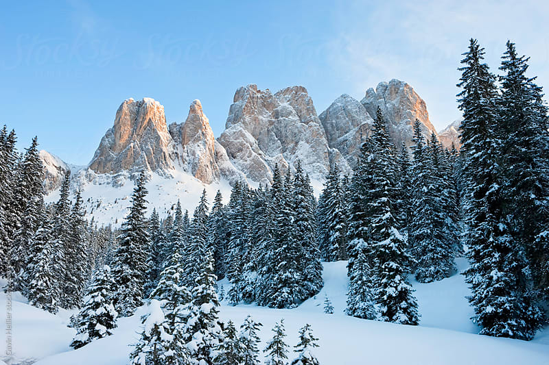 Winter landscape, Le Odle Group / Geisler Spitzen (3060m), Val di Funes, Italian Dolomites mountains by Gavin Hellier for Stocksy United