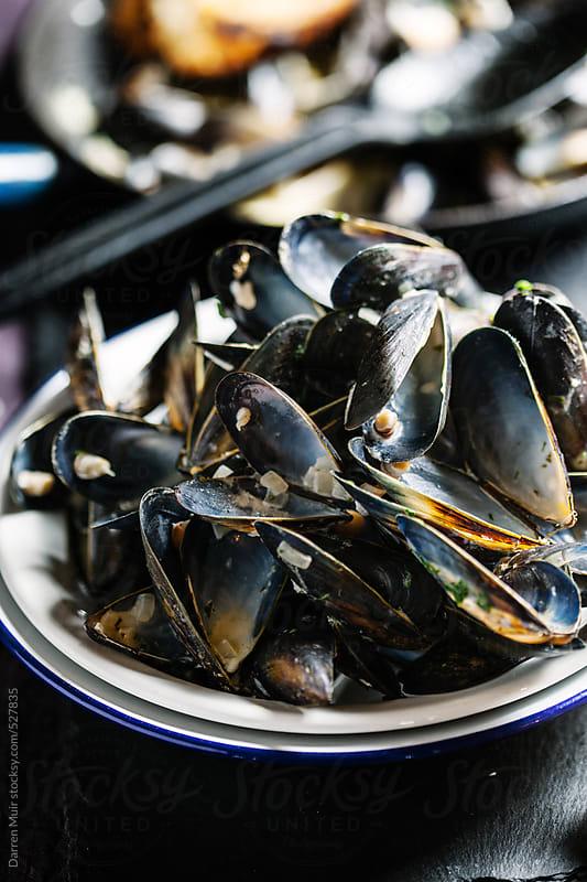 Empty mussel shells. by Darren Muir for Stocksy United