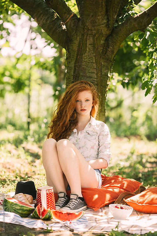 Beautiful Woman on a Picnic by Lumina for Stocksy United