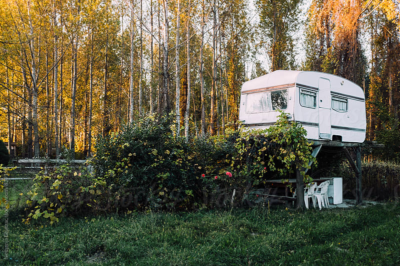 Camping Trailer in the Forest by Nemanja Glumac for Stocksy United