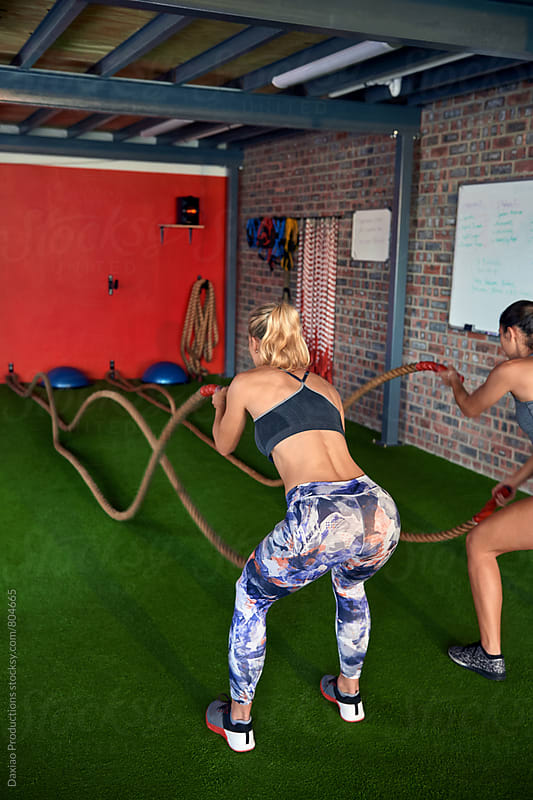 Rope workout in modern fitness gym by Daxiao Productions for Stocksy United