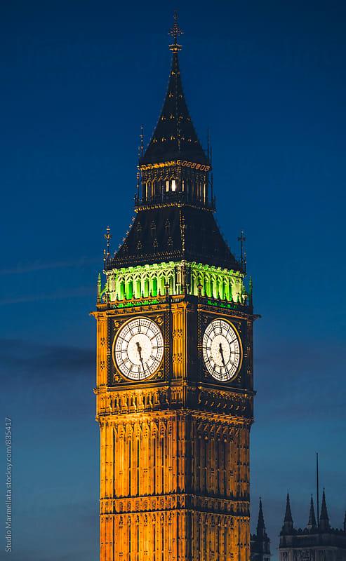 Big Ben at night by Juri Pozzi for Stocksy United