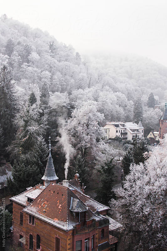 Heavy frost covers the trees surrounding a German city in winter by Holly Clark for Stocksy United