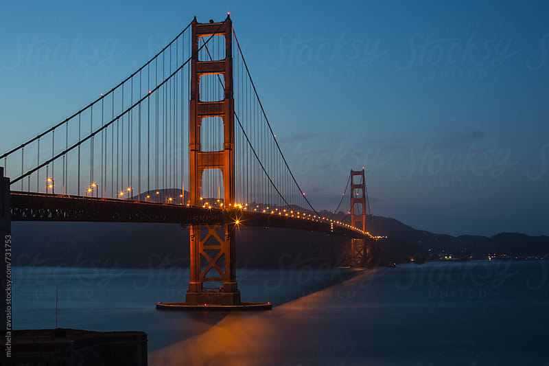 Golden Gate Bridge after sunset, San Francisco by michela ravasio for Stocksy United