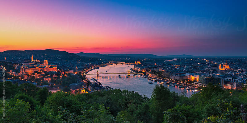 Panorama of the Hungarian Capital City Budapest at Sunset by Tom Uhlenberg for Stocksy United