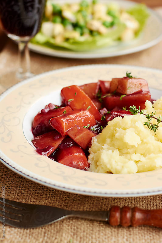 Vegetables Bourgonjon with Mashed Potatoes by Harald Walker for Stocksy United