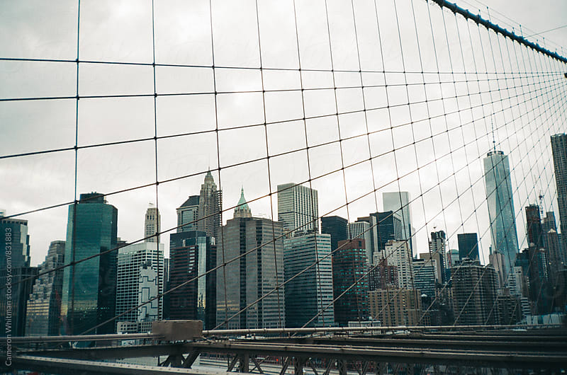 Manhattan skyline masked by cables from the Brooklyn Bridge  by Cameron Whitman for Stocksy United