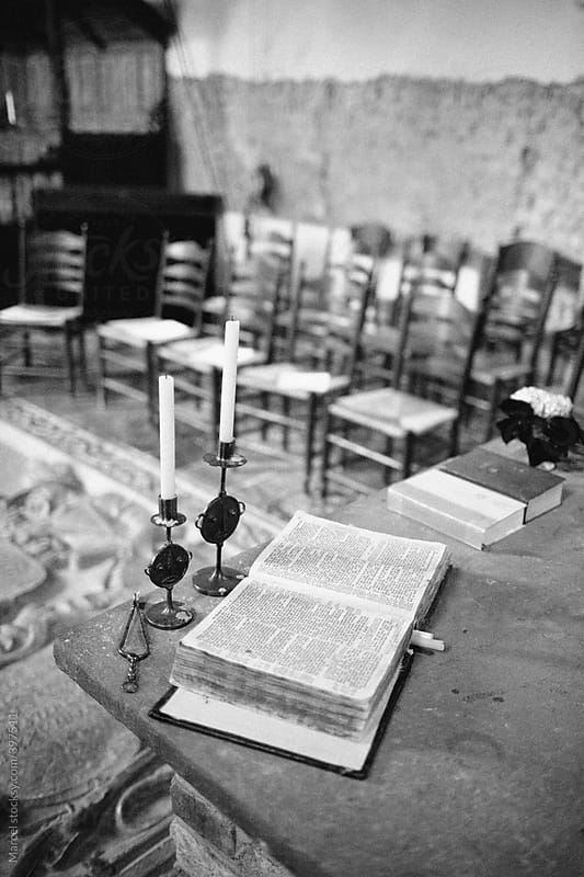 Old Bible On The Altar Of An Church By Marcel For Stocksy United