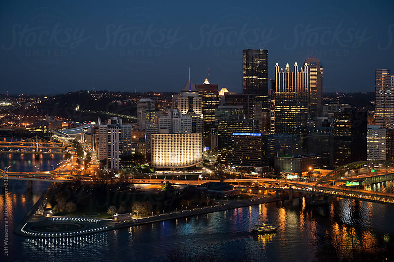 Pittsburgh Pennsylvania Downtown Skyline at Twilight by Jeff Wasserman for Stocksy United