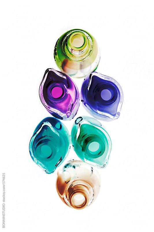 Set of nail polish. Negative photo.  by BONNINSTUDIO for Stocksy United