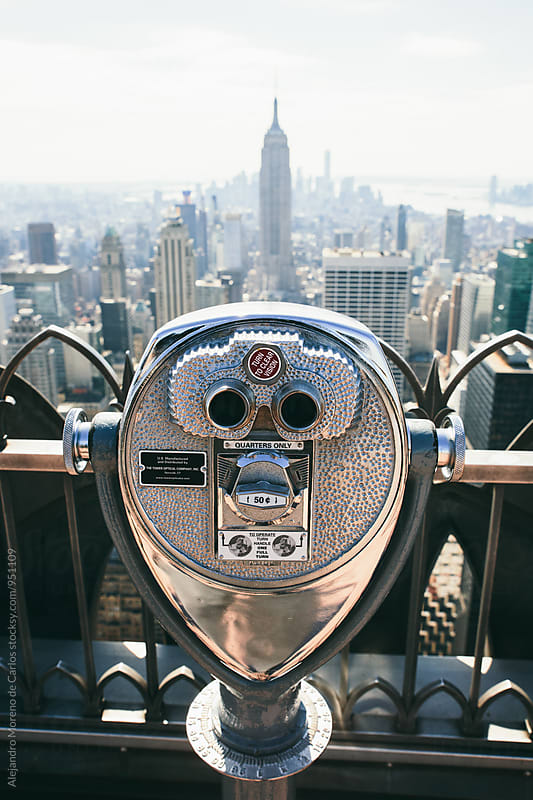 Binoculars on top of Empire State by Alejandro Moreno de Carlos for Stocksy United