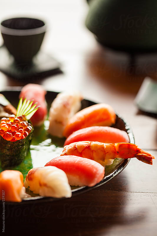Colourful Sushi in Japanese Restaurant by Mosuno for Stocksy United