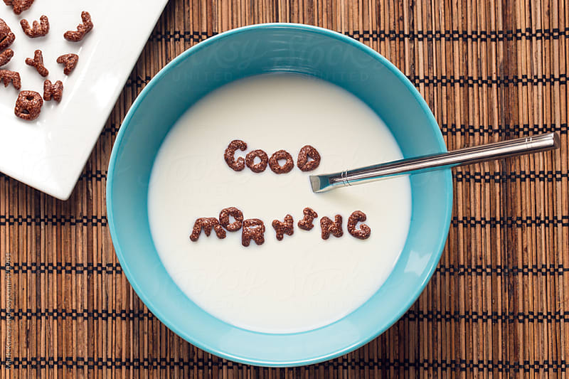 Good morning written with cornflakes in a bowl by Mark Korecz for Stocksy United
