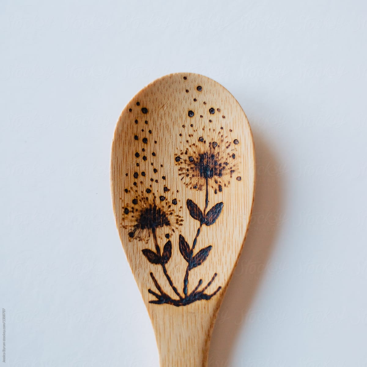 Floral Wooden Spoon  Pyrography  Wood Burned