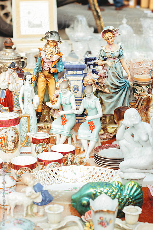 Porcelain figures on the vintage market  by Evil Pixels Photography for Stocksy United