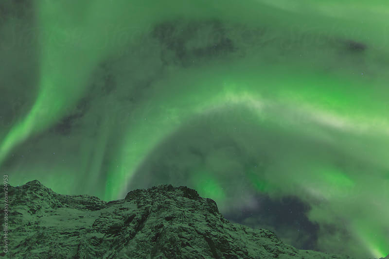 Aurora Borealis, Northern Lights, Troms region, Norway by Gavin Hellier for Stocksy United