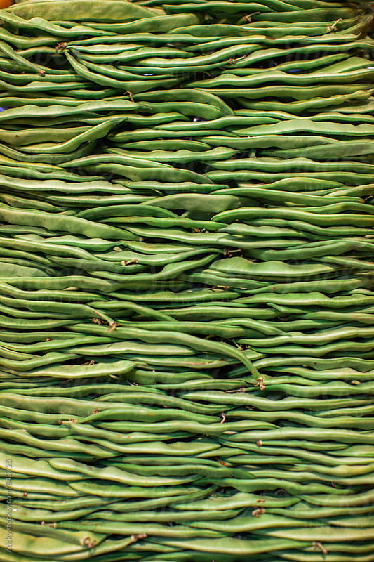 Organic green beans for sale at farmer's market by Zocky for Stocksy United