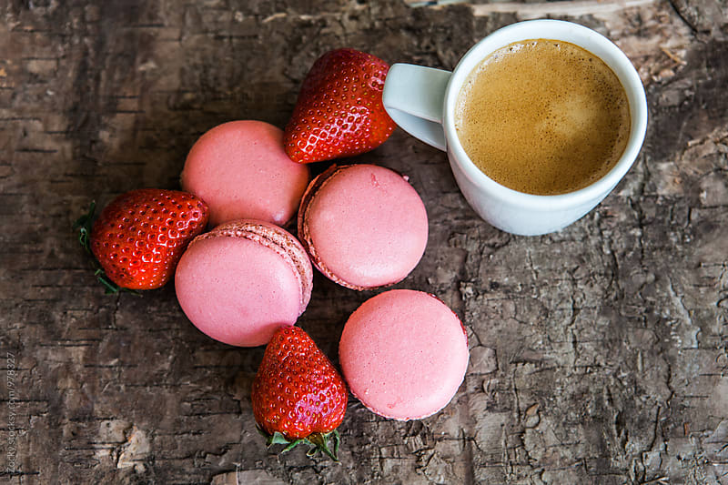 Coffee with strawberry  and macarons  by Zocky for Stocksy United