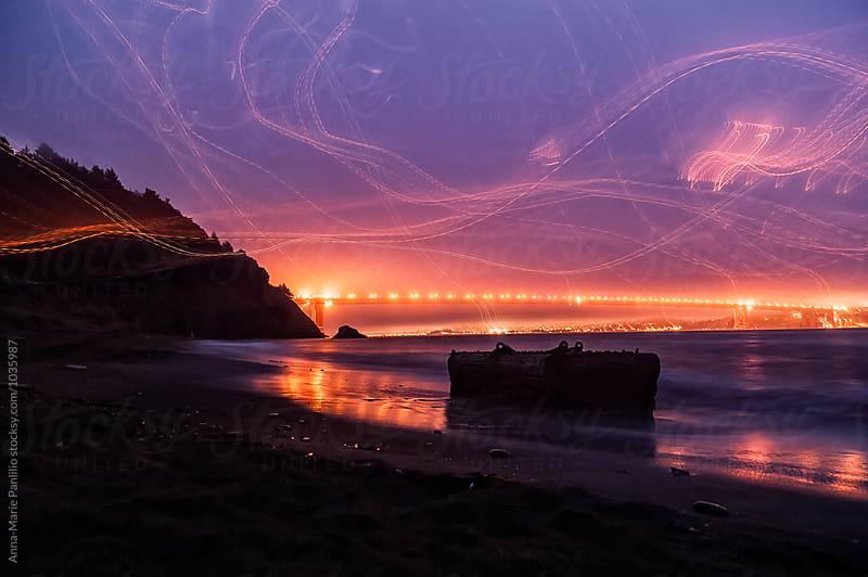 Light painting at Kirby Cove by Anna-Marie Panlilio for Stocksy United