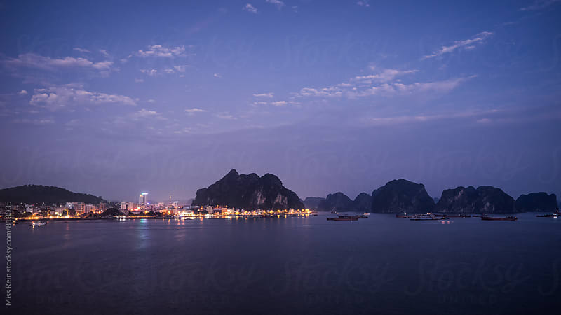 Vietnam Night, halong bay by Miss Rein for Stocksy United