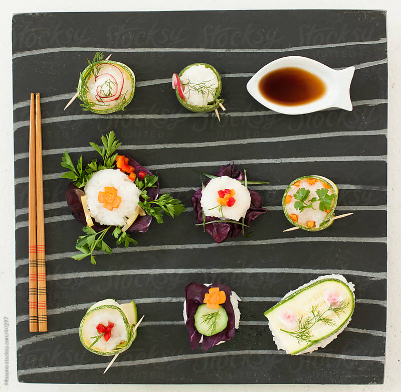 Colorful sushi served on the plate.  by Mosuno for Stocksy United