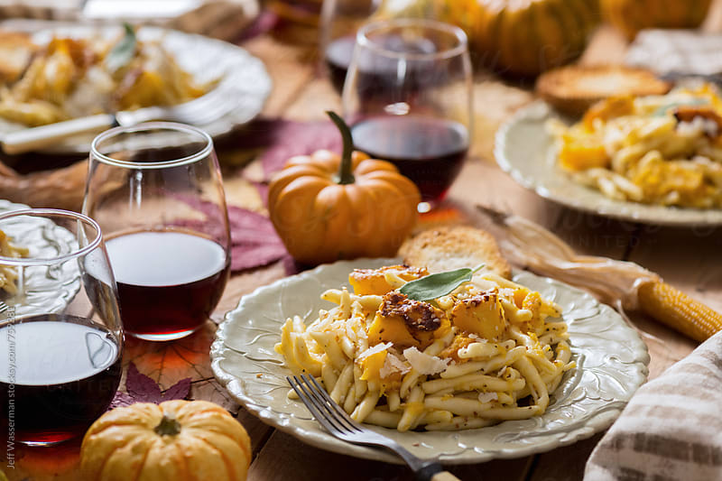 Vegetarian Thanksgiving Dinner Roasted Squash Pasta by Jeff Wasserman for Stocksy United