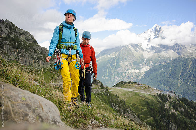Mountaineer couple trekking in the French Alps by RG&B Images for Stocksy United