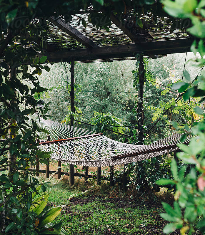 Empty hammock in outdoor shed garden by Trent Lanz for Stocksy United