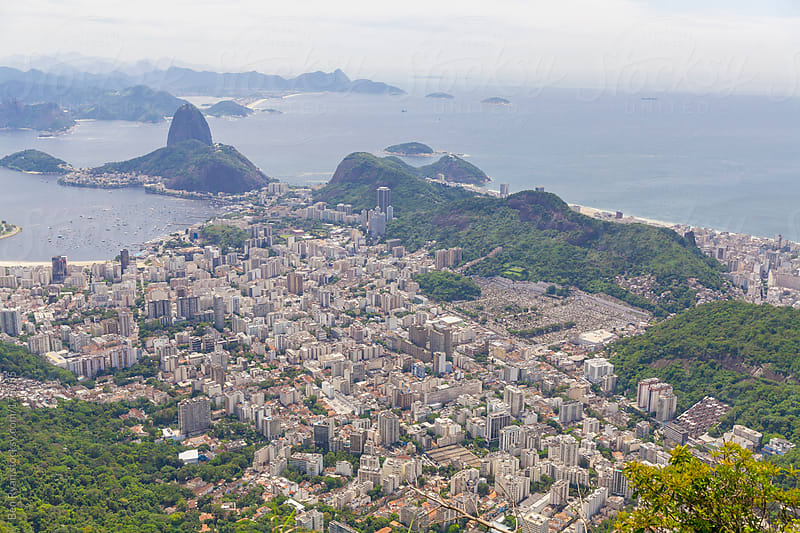 Rio de Janeiro Brazil, Sugarloaf Mountain aerial view by Ben Ryan for Stocksy United