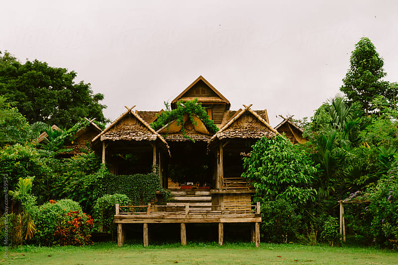 Traditional Thai house in jungle by Jesse Morrow for Stocksy United