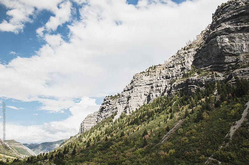 Rocky Mountain Cliff Face, Provo Canyon, Utah by Cameron Whitman for Stocksy United