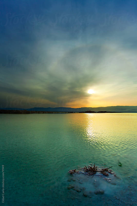 Dead Sea Sunrise - Salt Cluster by Shore at Dawn by Eldad Carin for Stocksy United